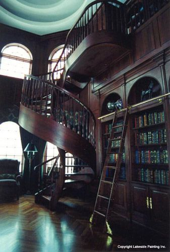 Home Library Ladder: Amazing Blue Library. This Is Where I Live In In Mind
