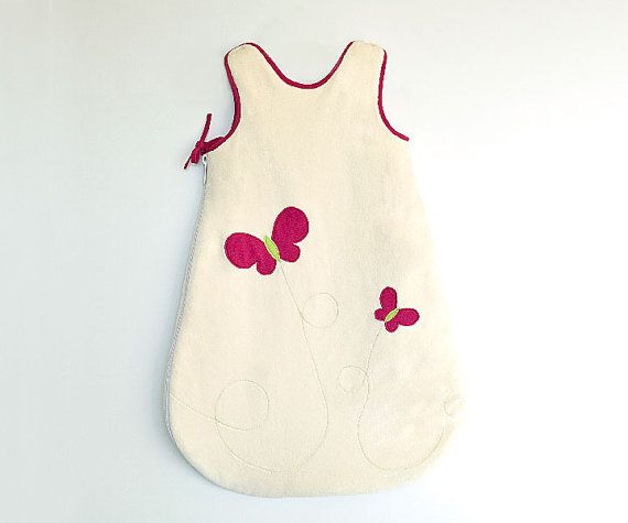 Butterfly Sleep Sack for ORGANIC Baby and Toddler Girls, with Hot Pink Butterflies, Cabaret Pink and Natural, Girls Sleeping Bag. This may be purchased on ecovolvenow.com