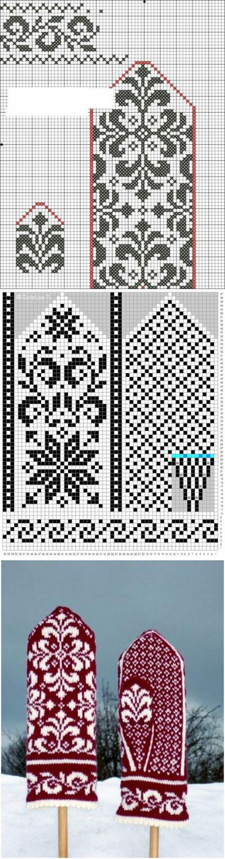 Варежки с жаккардом: идеи и схемы - Ярмарка Мастеров - ручная работа, handmade