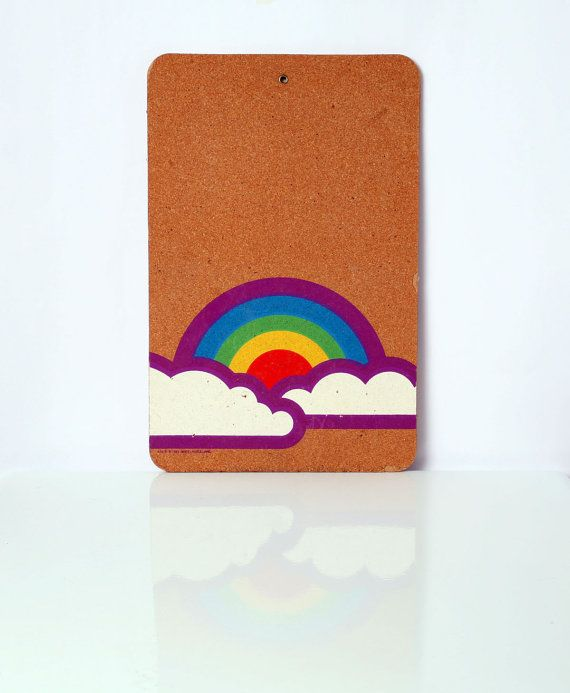 VIntage Eighties Rainbow Bulletin Board, VIntage Dorm Room Accessory on Etsy, $12.00