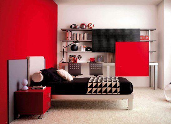red cool teenage bedroom designs