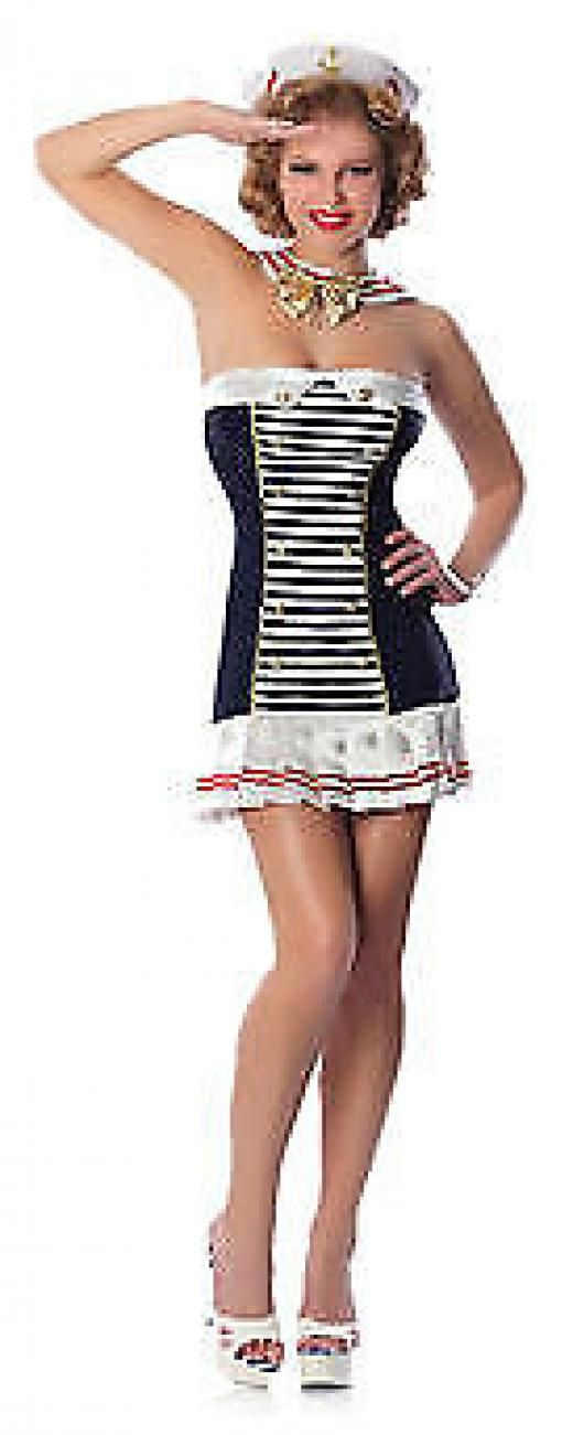 Delicious Adult Women's Xs/s Military Stars & Stripes Sexy Sailor Costume American Armed Forces Navy Mate Complete Black White 100% Polyester Regular China 048229923847