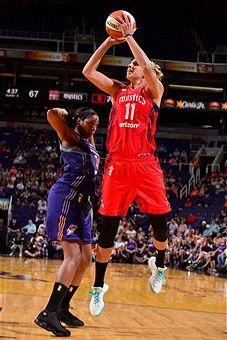 Elena Delle Donne #11 of the Washington Mystics shoots the ball during the game against the Phoenix Mercury on July 5, 2017 at Talking Stick Resort Arena in Phoenix, Arizona.