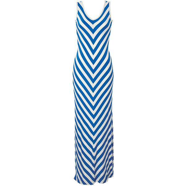 Kimmy Chevron-Stripe Maxi Dress ❤ liked on Polyvore