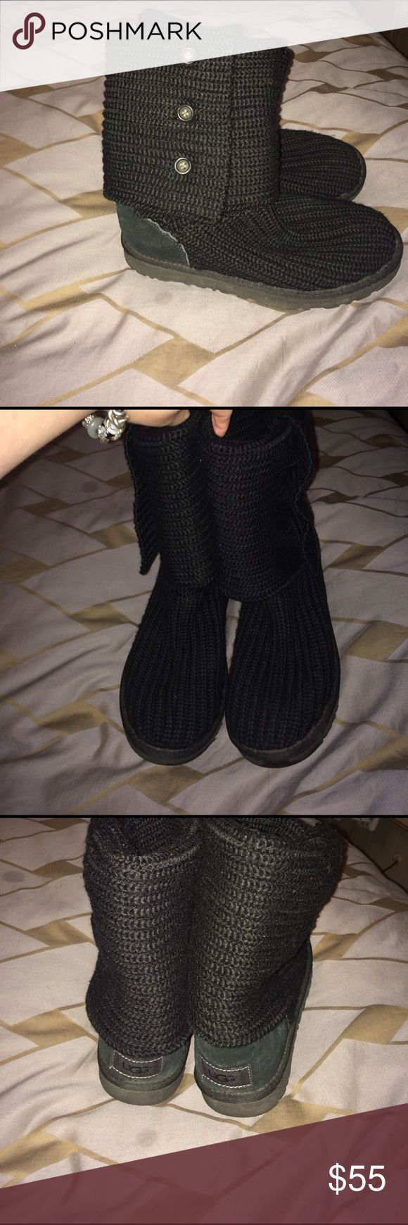 Ugg Australia classic cardy knit boot black size 7 Being offered is a very gently worn pair of authentic ugg Australia black foldover knit classic cardy boots in size 7. Smoke free home I do bundle and take reasonable offers no trades except maybe perfume LOL! UGG Shoes Winter & Rain Boots