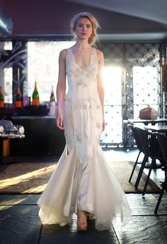 Kelima K Mermaid Tail Wedding Dress Style Off White Wine Colored V-Neck Scalloped Straps with Sewn Floral Detail #goddessgowns #bridal