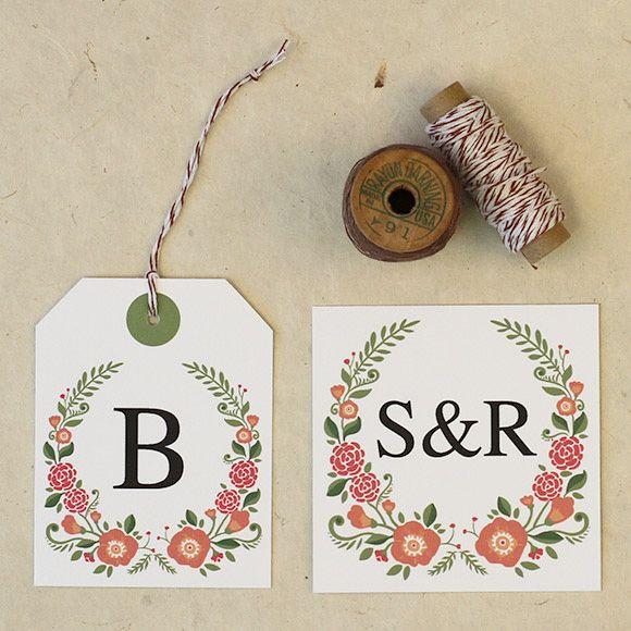 Florales del favor de Etiquetas