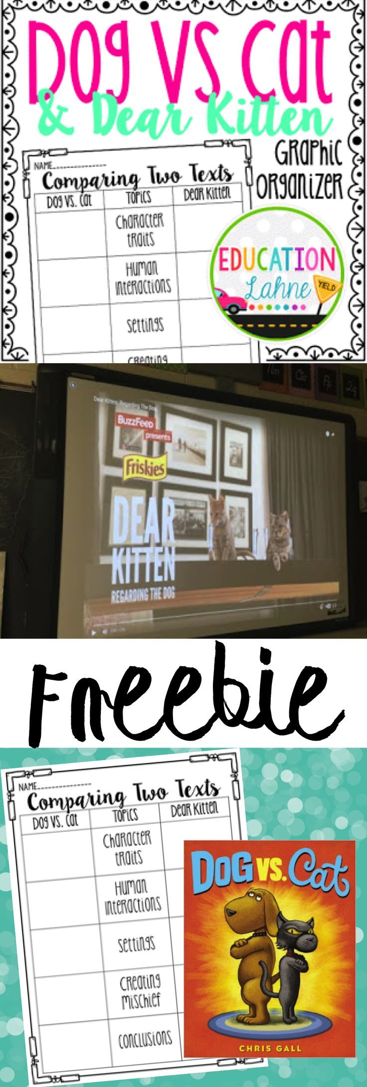 Compare two types of text in your classroom using this graphic organizer freebie! This activity incorporates on of my favorite books, Dog Vs. Cat and one of the famous Dear Kitten video clips!