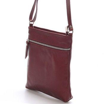 #ItalY_Slania Dámská menší vínová kožená kabelka přes rameno - ItalY Slania