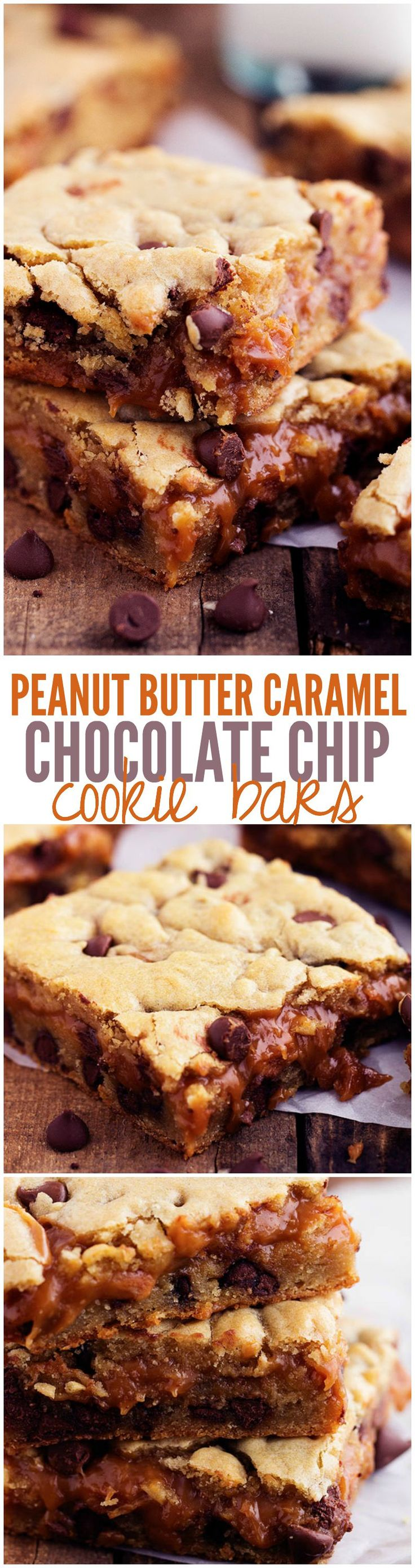 These Chocolate Chip cookie bars have a peanut butter caramel center! One of the best treats that you will make!