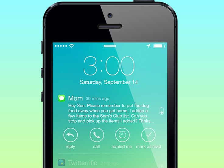Notification Options - Lock Screen for iOS 7 by Joshua Tucker