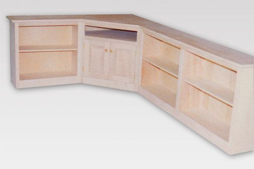 Custom Wood Maple Corner Entertainment Center with Bookcases