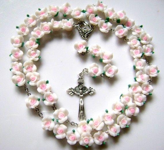 Hermosa suave Cerami rosa granos Rosario Cruz por elegantmedical