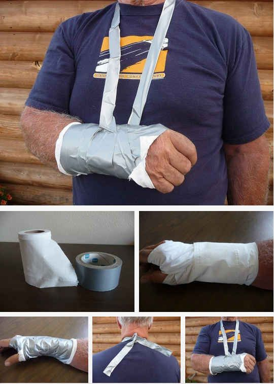 Set broken bones with toilet paper and duct tape. | 20 Easy Post-Apocalypse Life Hacks Any Survivor Can Do