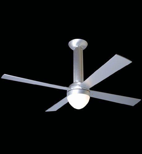 Modern Fan Company - STR-BA-42-AL-650-004 - Stratos Fan Shade: White Glass. Fan Speed and Light Control (2-wire) included. Blade Finish: Aluminum - Blade Span: 42 inches. Fan Wattage: 71 - CFM Per Watt: 78. Collection: Stratos.  #Modern_Fan_Company #Lighting