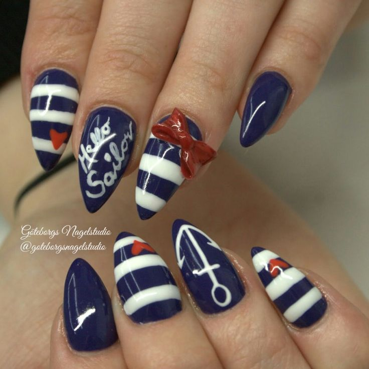 25 unique nautical nail art ideas on pinterest nautical nail red bow nautical nail art click to see a whole gallery of 3 d prinsesfo Images