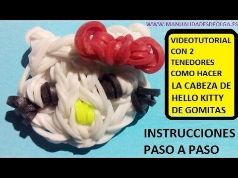 COMO HACER UNA CABEZA DE HELLO KITTY DE GOMITAS CON DOS TENEDORES. VIDEO...