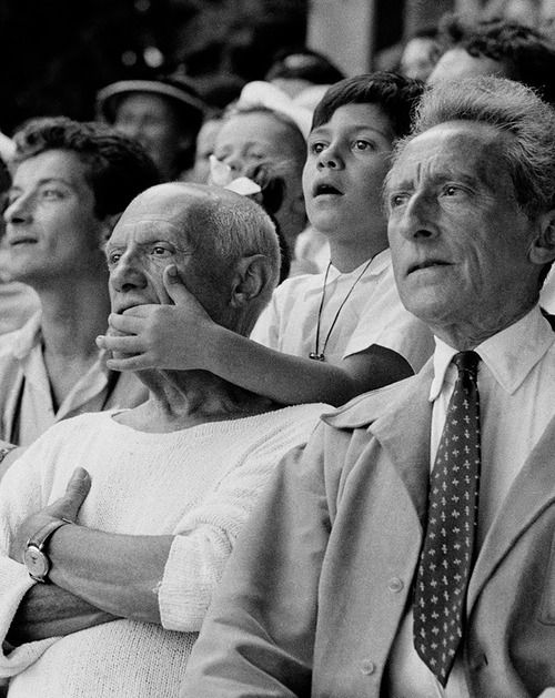 Jean Cocteau, Pablo Picasso and his son  France 1955  Photo: Brian Brake
