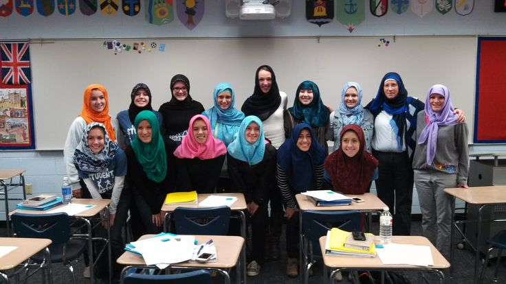 """Brighton High School students don hijabs to explore literature, religion and identity - My last voting precinct in Dearbornistan, their main elementary school, is increasing Arabic script, inside a building that's clearly anything BUT Arabic, INSIDE OR OUT!!! - It's Old World GOTHIC, for crying out loud!!! Think a brighter version of the church at the end of """"The Crow"""", which incidentally IS in Detroit. Now tell me that's a coincidence. *snorts, rolls eyes*"""