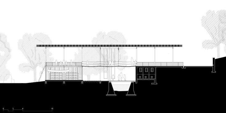 Magic Bus Learning Pavilion, Karjat - Architecture BRIO, India Longitudinal Section  #ArchitectureDrawing #JungleBridge