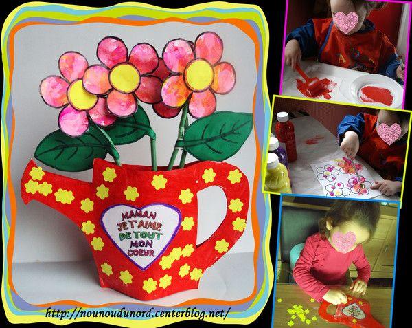 Arrosoir pot de fleur pour la fête des mères d'Annalisa , explications et coloriage à imprimer sur mon blog