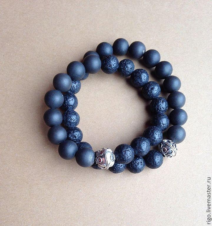 Купить Браслеты для пары - браслет из камней, браслеты на резинке, браслет для пары, серебряная бусина, лава
