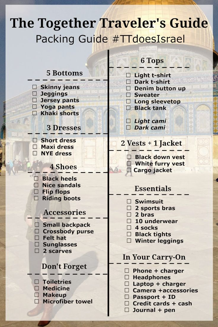 Everything you need to pack for two weeks in Israel, Jordan and Egypt in the winter. The Packing Guide #TTdoesIsrael | The Together Traveler