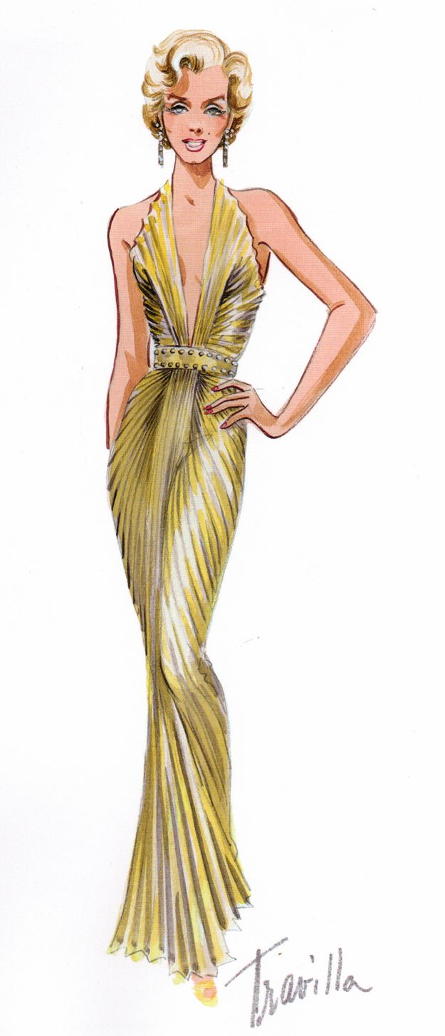 "Travilla costume sketch for Marilyn Monroe's ""Sunburst"" gown in Gentlemen Prefer Blondes (1953)"
