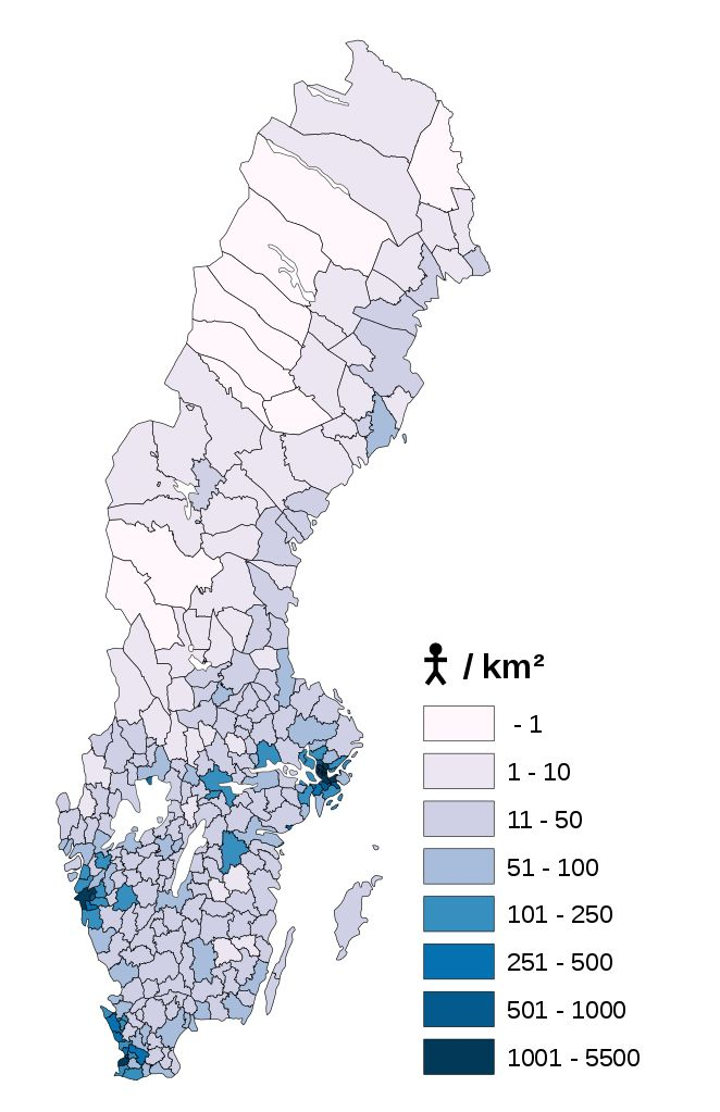 Sweden population density per municipality 2017