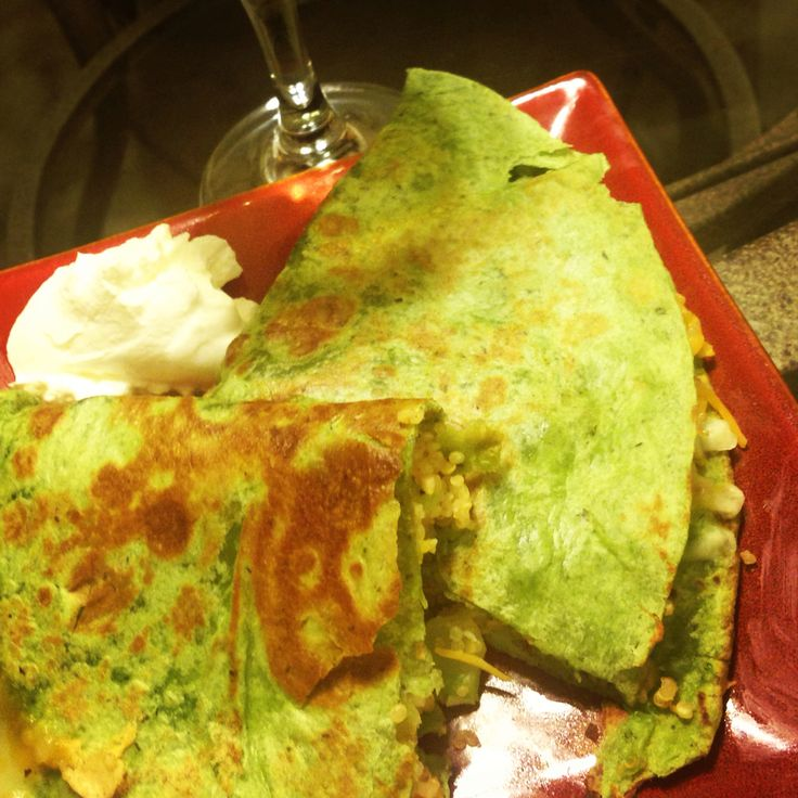 Quinoa broccoli and cheese quesadillas on spinach tortilla wraps ...