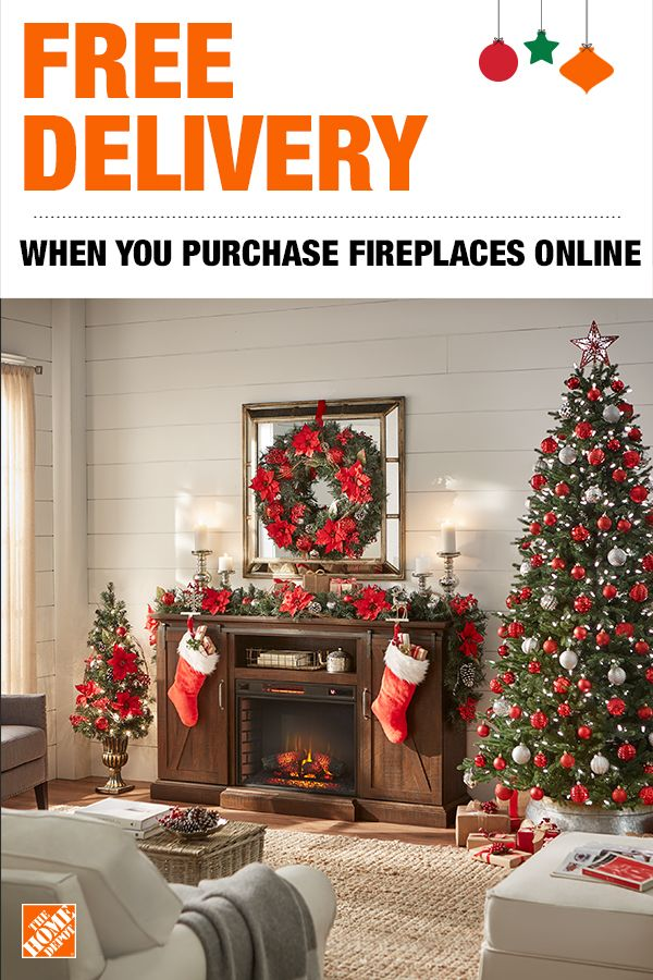 Get Free Delivery On Electric Fireplaces When You Purchase Online The Home Depot Has A Christmas Fireplace Decor Shabby Chic Christmas Tree Electric Fireplace
