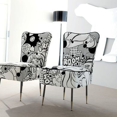 Comic book chairs. these would never ever work for my 4 yr old's room, but I'm in love with these!