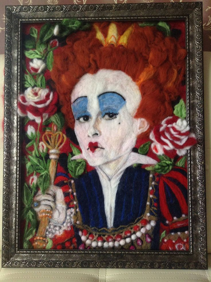 Wool Picture Handmade The red Queen painting holiday gift woolpaint fairytale décor wall original painting fiber art interior home by AnnaWeissArt on Etsy