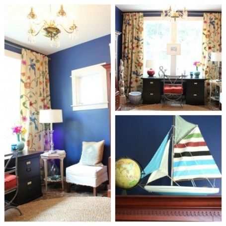 Home Office Decorating Makeover {The Reveal!} Bright Blue Walls, Floral  Curtains,