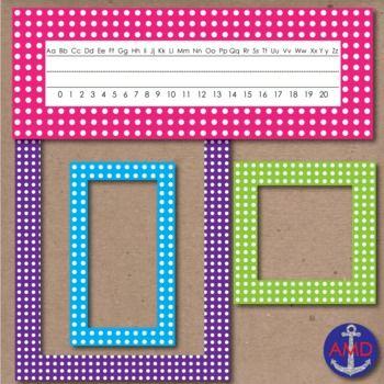 FREE 40 Polka Dot Borders, Labels & Name Tags