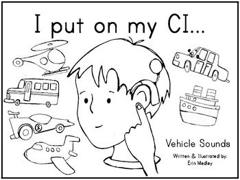 cochlear implant mini book coloring book transportation theme
