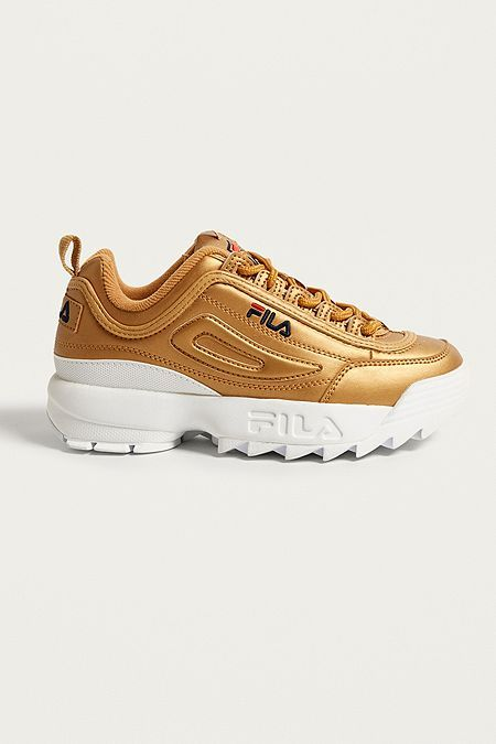f05098ac25c FILA - Baskets Disruptor II Premium métal doré | Health | Shoes, Gold  trainers, Sports shoes