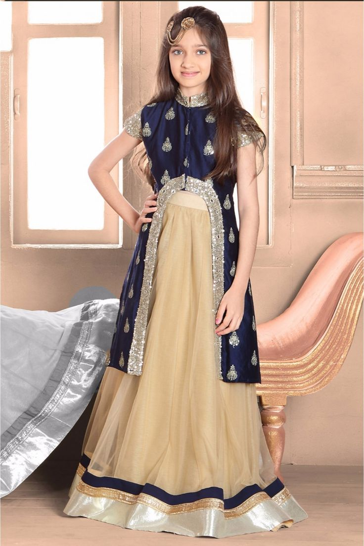 Its #Summer #Weekend Cashback Offer: Taffeta And Silk Party Wear Lehenga Suit In Blue And Cream Colour