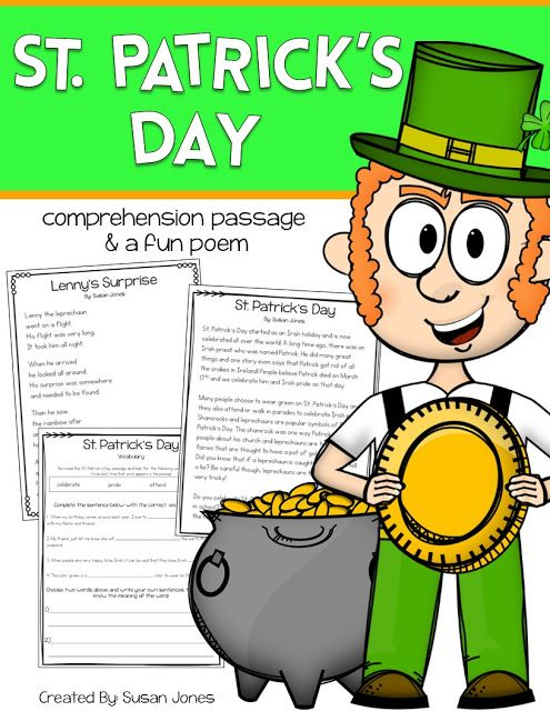 Free St. Patrick's Day Comprehension Passage! http://thankgoditsfirstgrade.blogspot.com/2016/03/free-st-patricks-day-comprehension.html