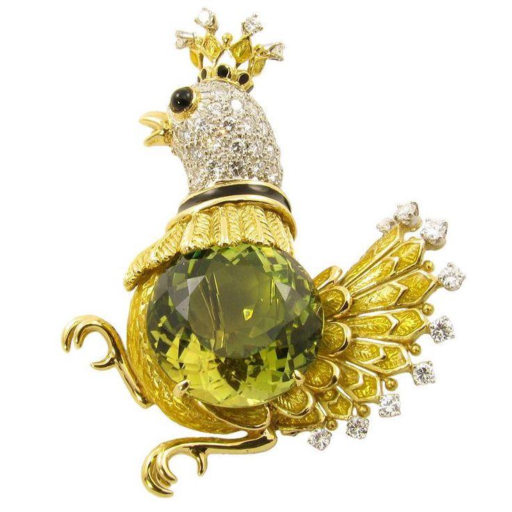 ДОНАЛЬД Claflin прихотливы цитрин, алмаз и черная эмаль птица.