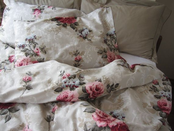 Shabby chic pink red rose floral Queen size duvet by nurdanceyiz, $110.00 For the Home ...