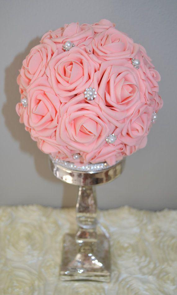 Pink flower ball with brooch wedding centerpiece