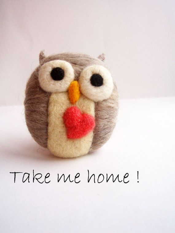 felted owl pin