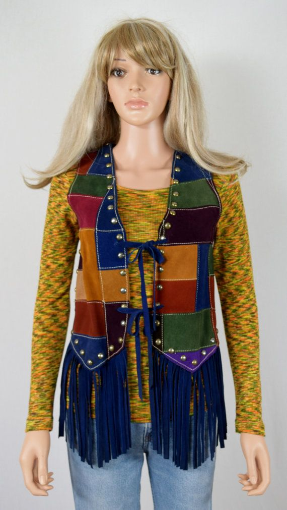 Vintage 1970s Rainbow Patchwork Suede Leather by RETROLANDVINTAGE