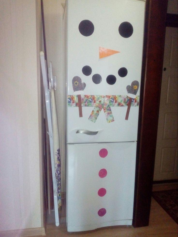 Снеговик на холодильник
