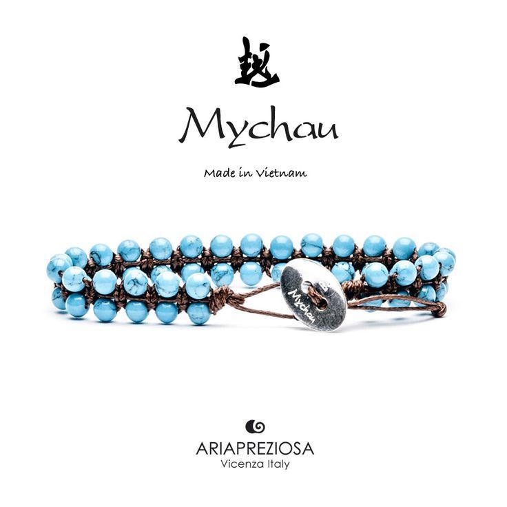 Mychau Double - Bracciale Vietnam originale realizzato con doppia fila di pietre naturali Turchese su base col. Testa di Moro