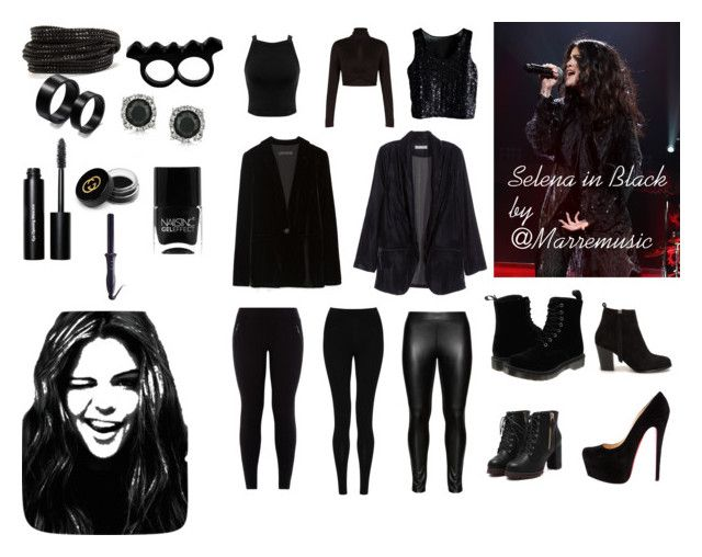 """Selena in Black by Marremusic"" by marremusic on Polyvore featuring Miss Selfridge, BCBGMAXAZRIA, Zara, H&M, M&S Collection, Studio, Dr. Martens, Nly Shoes, Pieces and L'Artisan Créateur"