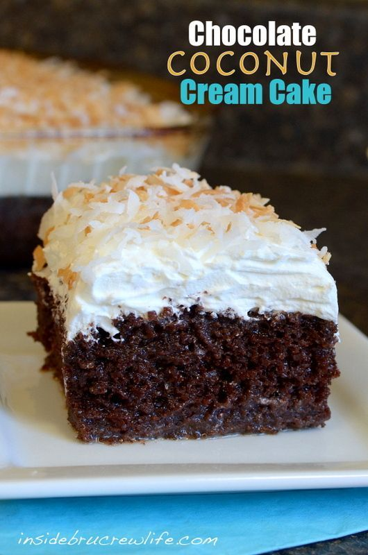 Chocolate Coconut Cake - chocolate and coconut in one divine cake www.insidebrucrewlife.com