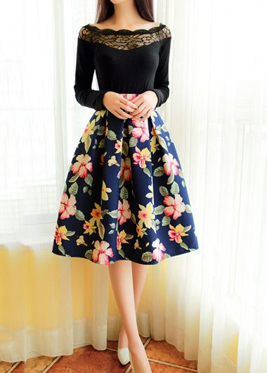 High Waist Floral Print Flare Pleated Midi Skirt
