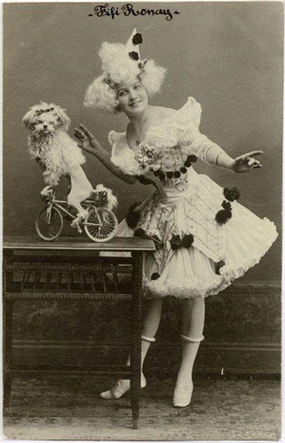 Fifi Ronay & Poodle on Bike.